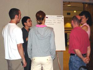 2006 early Career workshop participants engaged in a gallery walk