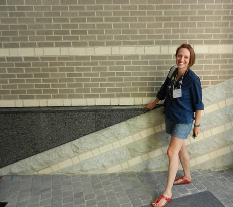 """Angular unconformity"" in the AGU entryway (Christy for scale)"
