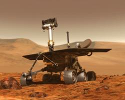A realistic artistic rendering of a Mars rover on Mars.