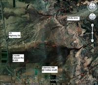 Annotated location image from Google Earth