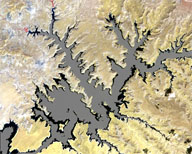satellite image of Lake Powell
