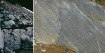 Exposures of gabbro (A) and hornfels (B) west of Greenville Maine (See figure 4 for locations.)