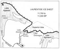 Figure 6.  The Laurentide ice sheet and glacial Lake Agassiz