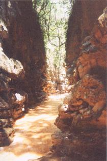 Limestone gorge and river leading to caves.