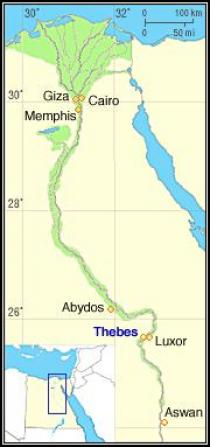 Location of the Theban Necropolis, near Luxor, Egypt