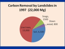 Pie chart of carbon input from landslides