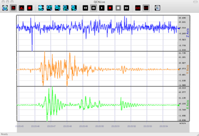 3-Component laptop accelerometer seismogram from QCN (Quake Catcher Network)