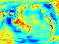 Map of Earth's gravity field