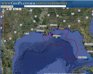 Map Outline of the BP oil spill