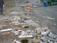 Six inch biowells at a hazardous waste site in Utica New York about to receive a healthy dose of oxidant.