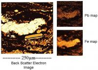Back scatter electron image and Pb and Fe abundance maps.
