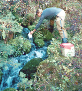 Collecting water sample from a spring discharging from the Madison aquifer