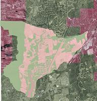 land use satellite photo with watershed outline
