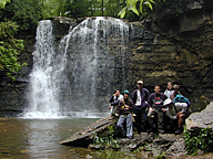 students at waterfall at Hayden Run