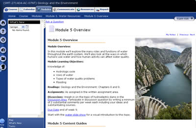 ANGEL course management screen shot