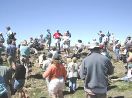Participants at the petrology workshop gather near the Beartooth Highway