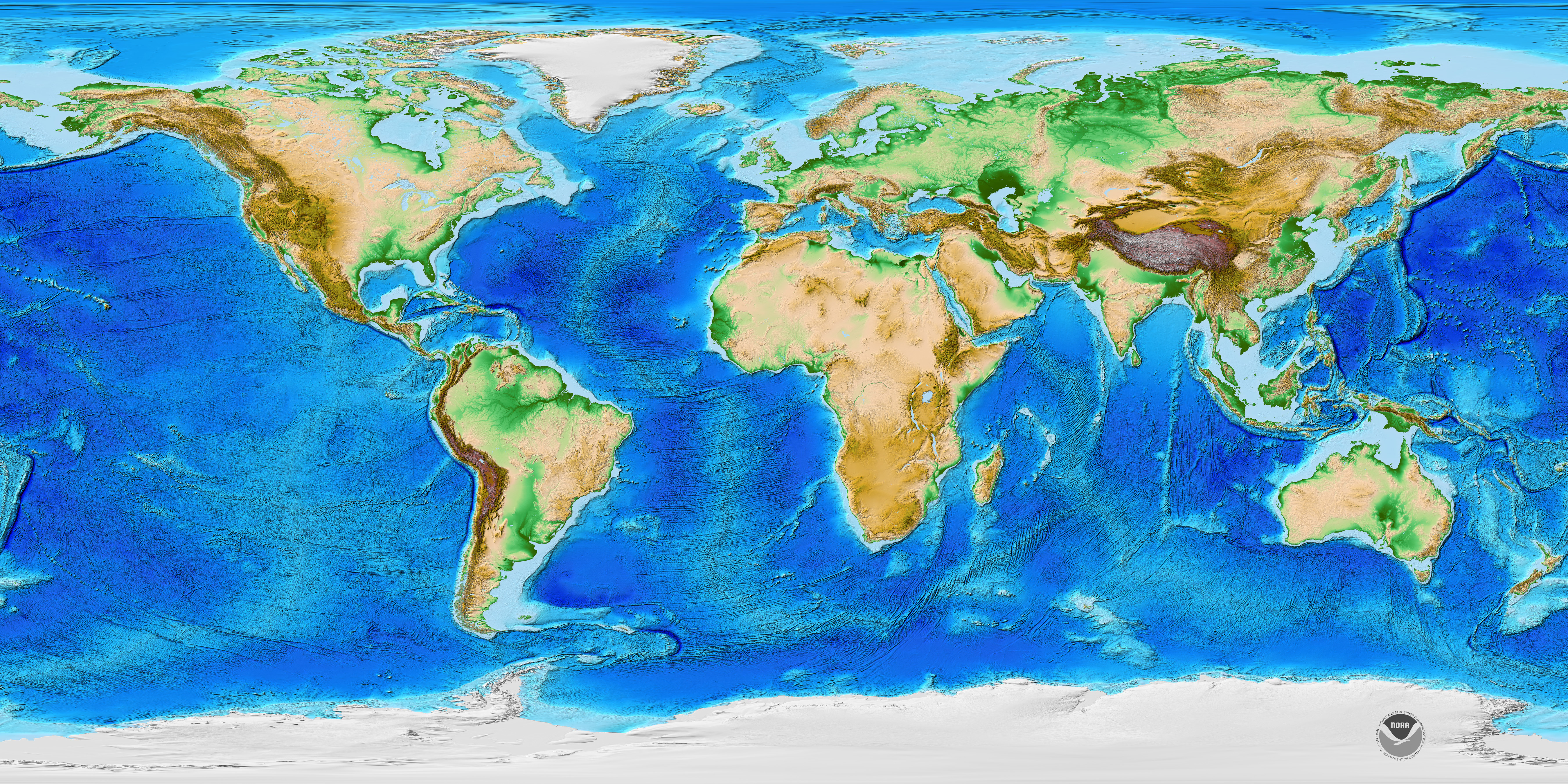 NOAA Global Topographic Map Med Res - Global topographic map