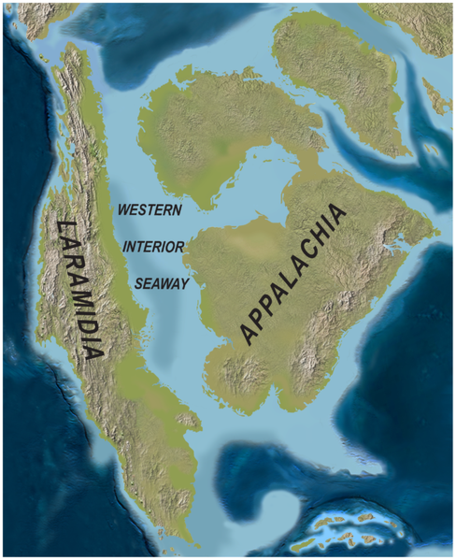Cretaceous paleogeography of N. America