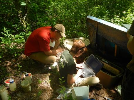 Undergraduate Research Fellows in the field programming a soil moisture water collector (lysimeter)
