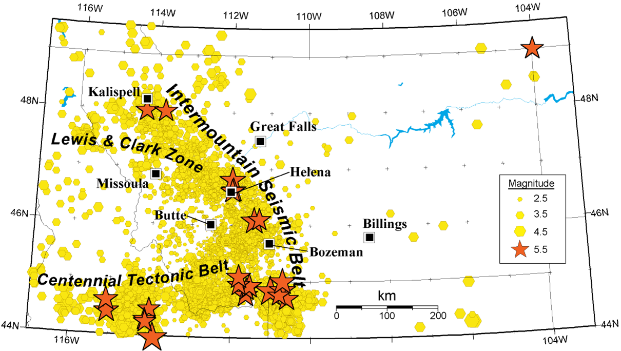 montana earthquake map