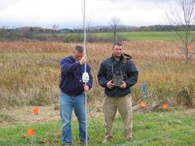 Students conducting geophysical research
