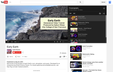 screenshot of Earth ROcks! channel on YouTube
