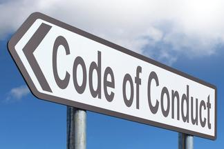Code of conduct road sign