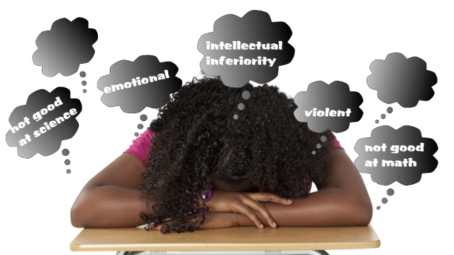 Girl surrounded by thoughts of stereotypes