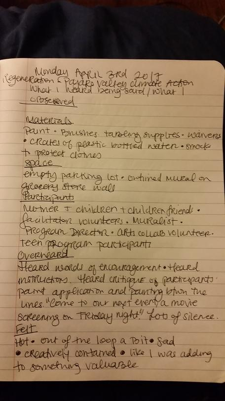 Example Student Field Note  - Journal Snapshot 1 of Observations R. Kippen