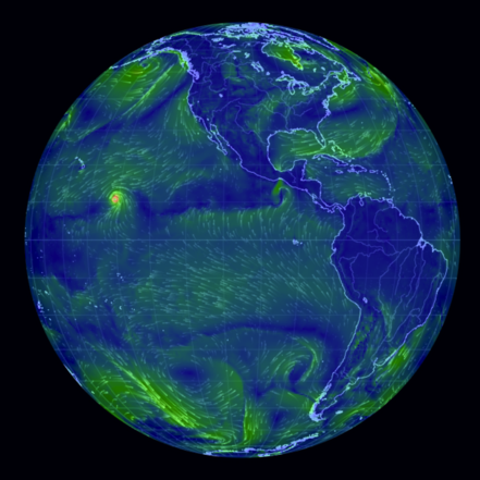 Earth An Animated Map Of Global Wind And Weather