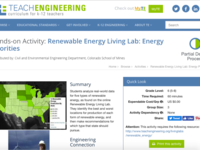 Renewable Energy Living Lab: Energy Priorities