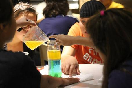 Students experimenting with water density