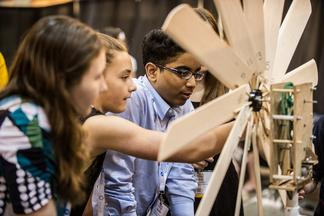Students building a small scale wind turbine