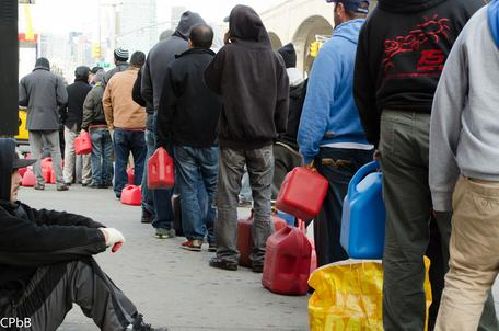 Waiting in line for gasoline