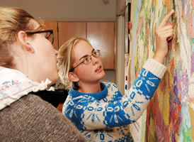 Students working at a map