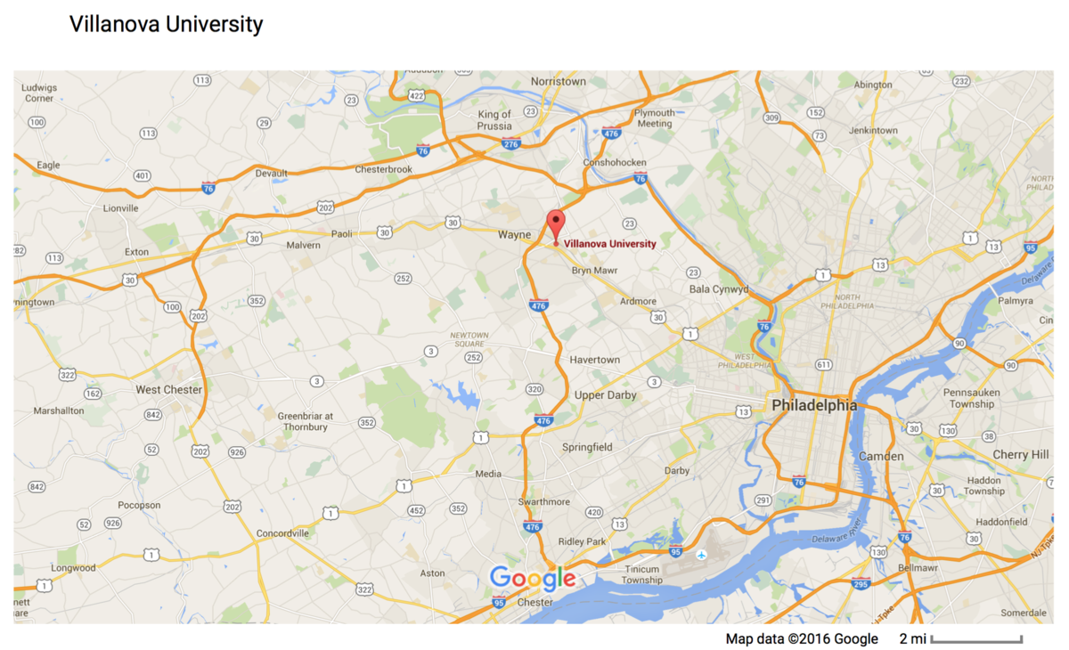 Map to Villanova University - DV16