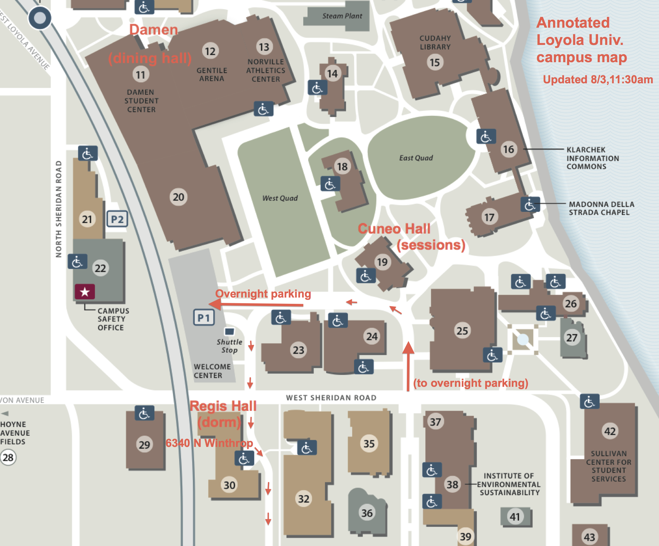 Loyola University annotated closeup map