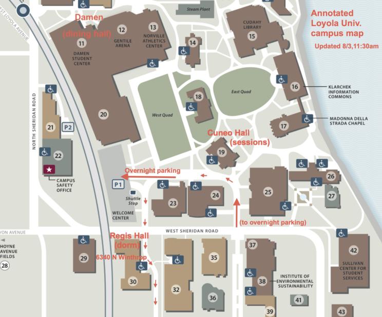 Loyola University annotated closeup map