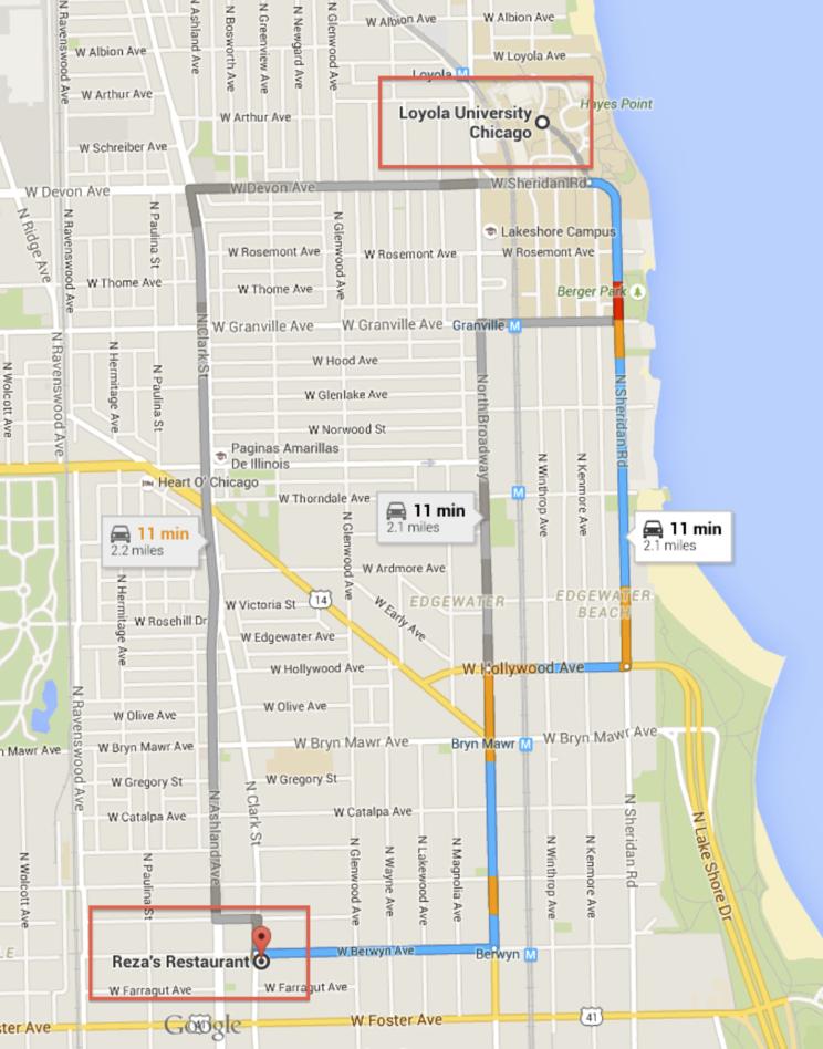 Map - Loyola to Reza's Restaurant