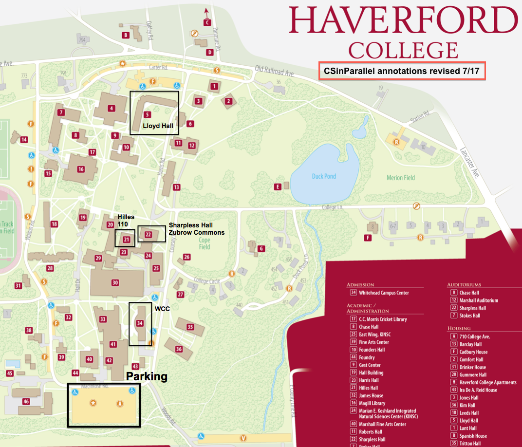 Haverford College Map    Annotated