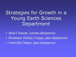 Screen cap from front page of Clement presentation from departments session at AGU 05