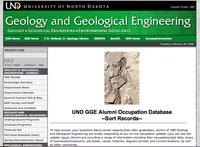 Screen shot of UND's alumni database website