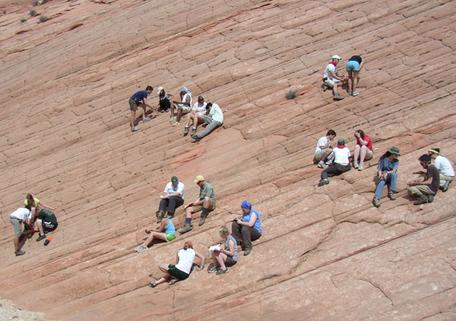 William and Mary geology students in the field