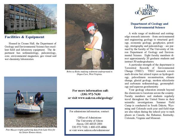 University of Akron recruitment brochure, page 1