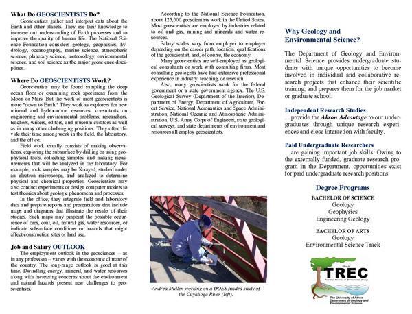 University of Akron recruitment brochure, page 2