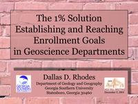 Title slide from Dallas Rhodes' 1% Solution presentation