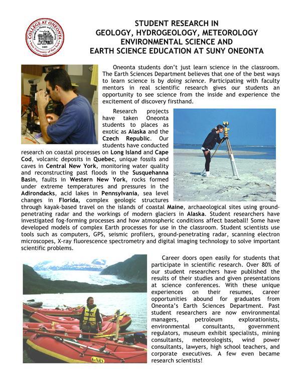 SUNY Oneonta Earth Sciences Undergraduate Research Flyer