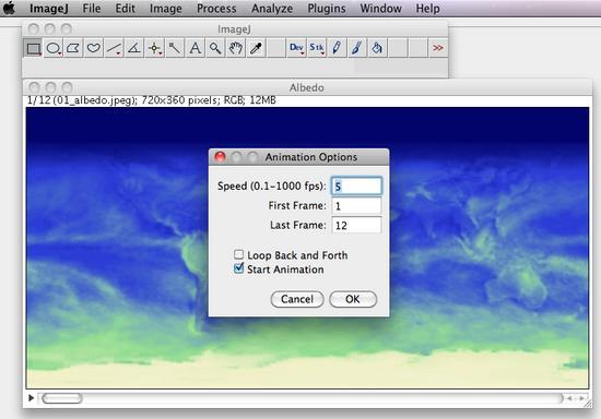 Animation Options Window in ImageJ
