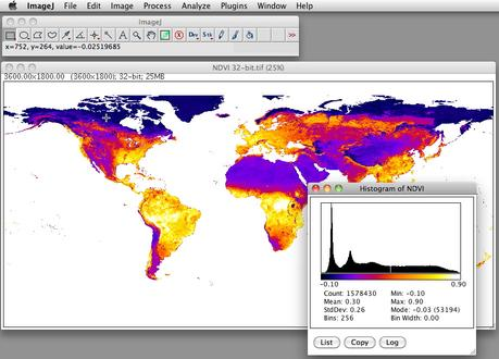 Final NDVI with histogram