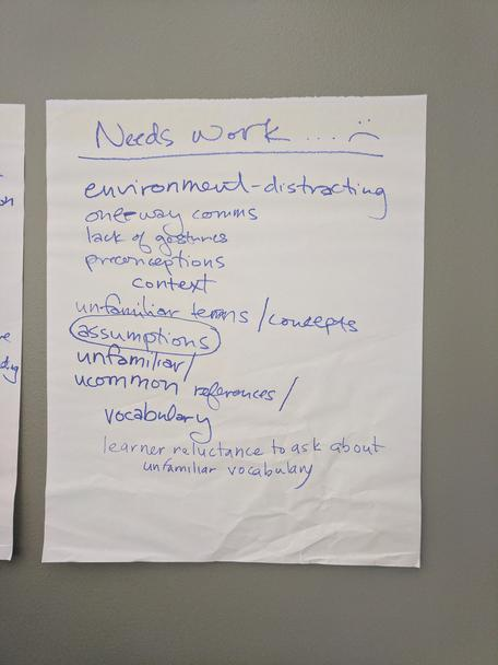Building a Common Vision needs work brainstorm